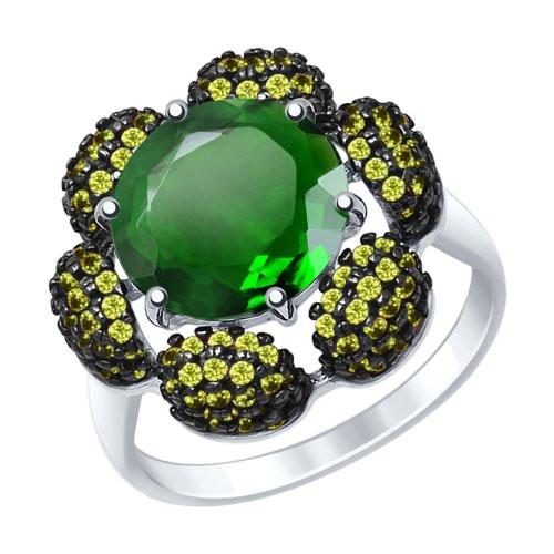 Кольцо из серебра с кварцем и жёлтыми фианитами SOKOLOV Арт 101