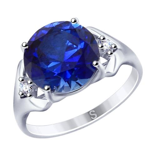 Кольцо из серебра с синим корундом (синт.) и фианитами SOKOLOV Арт 214