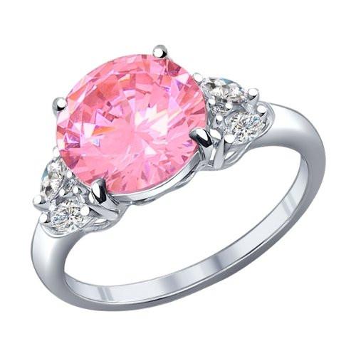 Кольцо из серебра с розовым фианитом SOKOLOV Арт 172