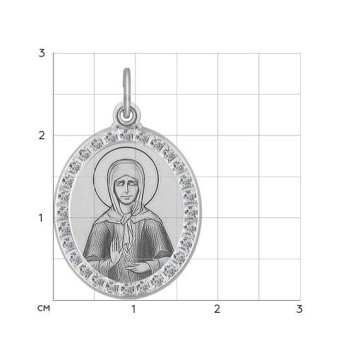 Иконка из серебра с лазерной обработкой с фианитами SOKOLOV Арт 037