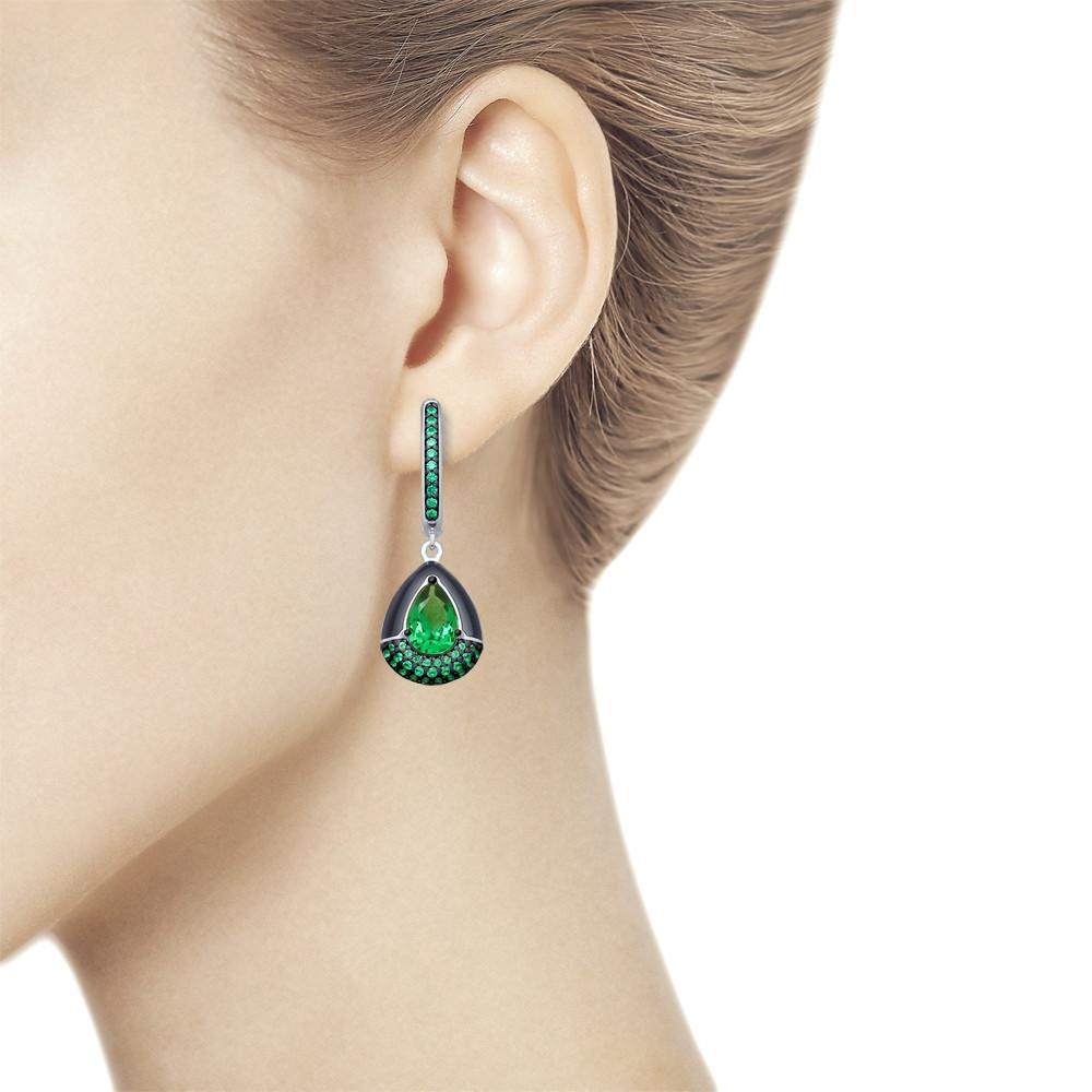 Серьги из серебра с эмалью и зелеными ситаллами и фианитами SOKOLOV Арт 014