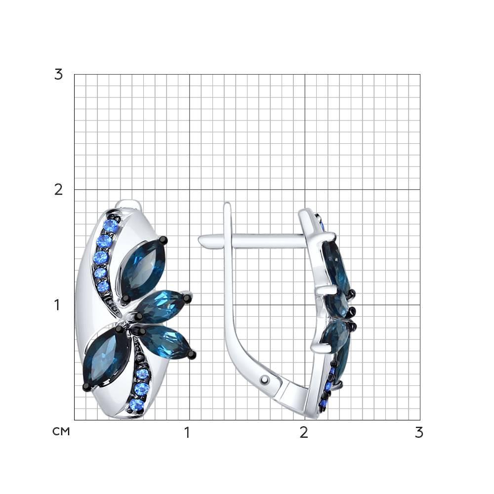 Серьги из серебра с топазами и синими фианитами SOKOLOV Арт 018