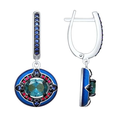 Серьги из серебра с эмалью и синими ситаллами и фианитами SOKOLOV Арт 029