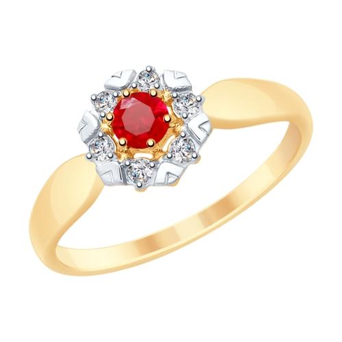 Кольцо из золота с красными корундами и фианитами SOKOLOV арт 052