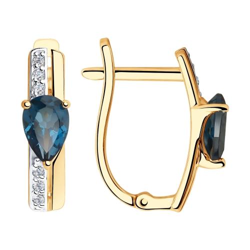 Серьги из золота с синими топазами и фианитами SOKOLOV арт 0036