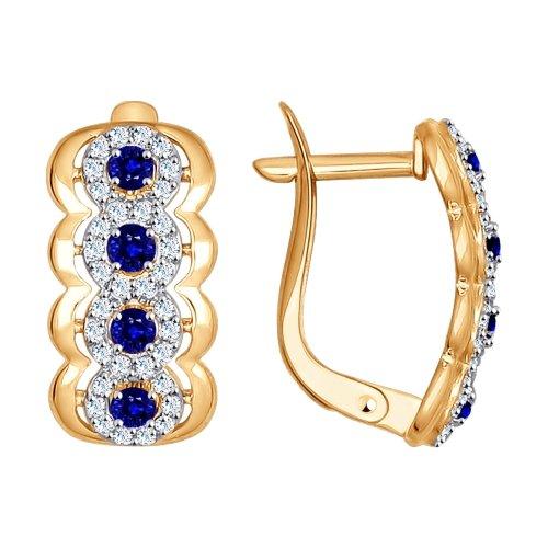 Серьги из золота с бесцветными и синими фианитами SOKOLOV арт 0023