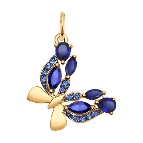 Золотая подвеска в виде бабочки с синими корундами и синими фианитами SOKOLOV Арт 017