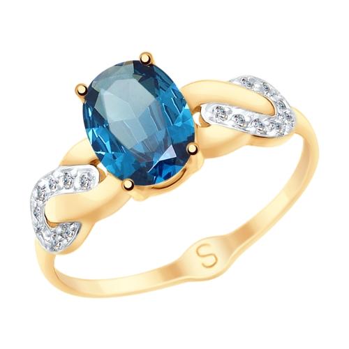 Кольцо из золота с синим топазом и фианитами SOKOLOV Арт КЗ-083