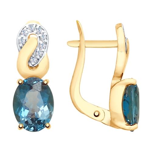 Серьги из золота с синими топазами и фианитами SOKOLOV Арт СЗ084