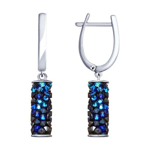 Серьги из серебра с синими кристаллами Swarovski SOKOLOV Арт СС-138